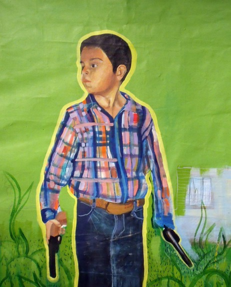 Chucho boy playing with his plastic pistolas, 2009. Acrylic on canvas