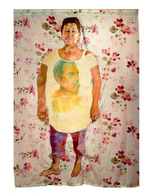 The sabanas my parents sleep onn, 2011. Acrylic on Fabric